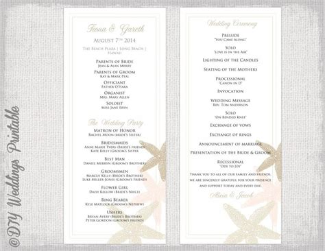 wedding order of service template wedding program template quot starfish quot wedding