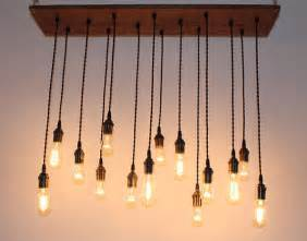 repurposed oak industrial hanging light with edison by