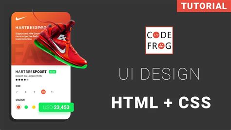 design your html ui design tutorial product card html css speed coding