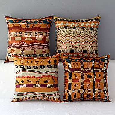 Decorative Pillows Set Of 4 Set Of 4 Africa Style Patterned Cotton Linen Decorative