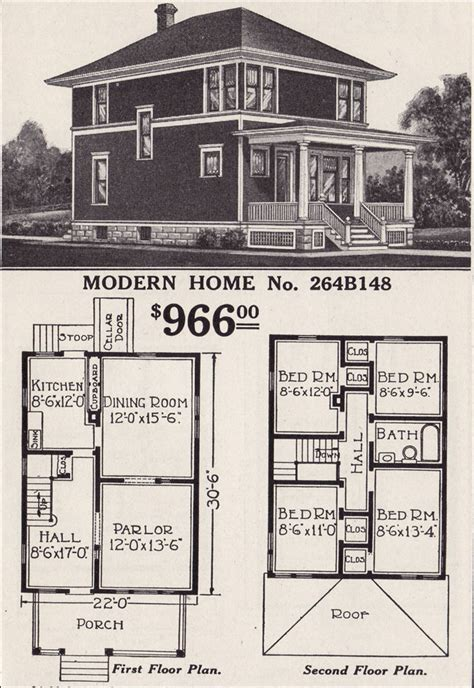 sears floor plans classic foursquare sears modern home no 264b148 hipped roof glendale