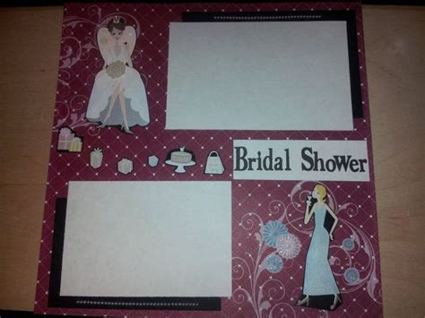 bridal shower 12x12 premade scrapbook page scrapbooking