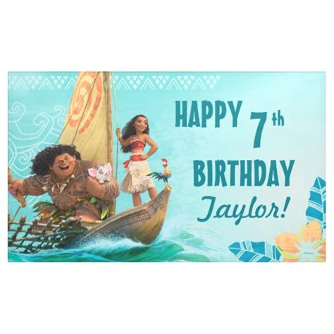 moana birthday card template moana oceanic birthday banner zazzle