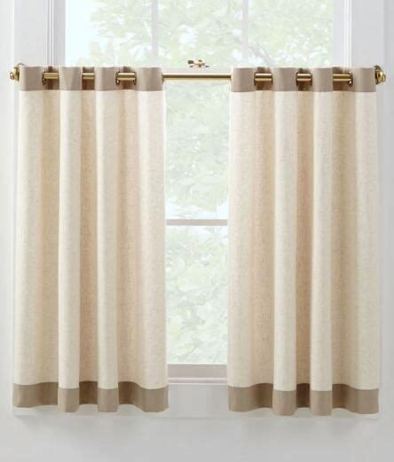 grommet cafe curtains oxford banded linen grommet cafe curtains pair linen