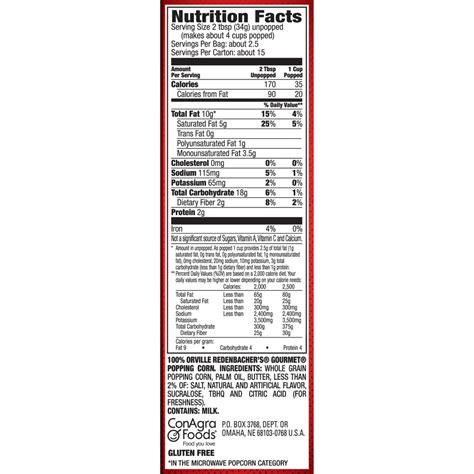 how many calories are in a corn kettle corn nutrition facts mloovi