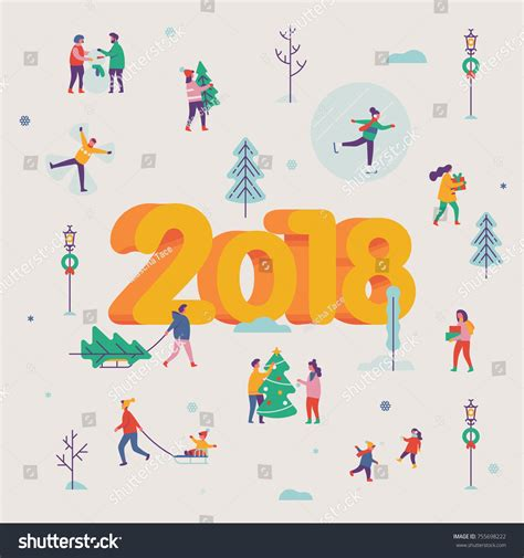 new year 2018 projects lovely vector new year 2018 greeting เวกเตอร สต อก