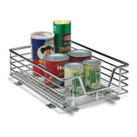 chrome and gray basket sliding system for base cabinets baskets pull out chrome wire or wicker storage baskets