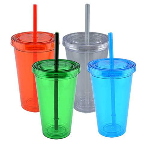 Bulk Double Wall Plastic Tumblers with Straws, 16 oz. at