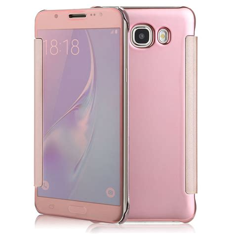 Samsung Galaxy J7 2017 J720 Flipcase Mirror Smart Flip Cover Casing for samsung galaxy j7 mirror clear view window smart