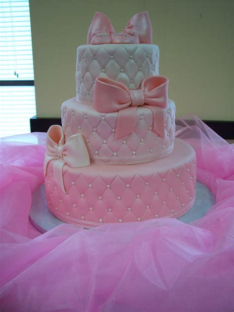 pink cakes for baby showers mymonicakes pearls bows pink quilted baby shower cake