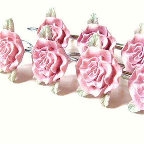 pink rose shower curtain hooks vintage pink rose shower curtain hook set from