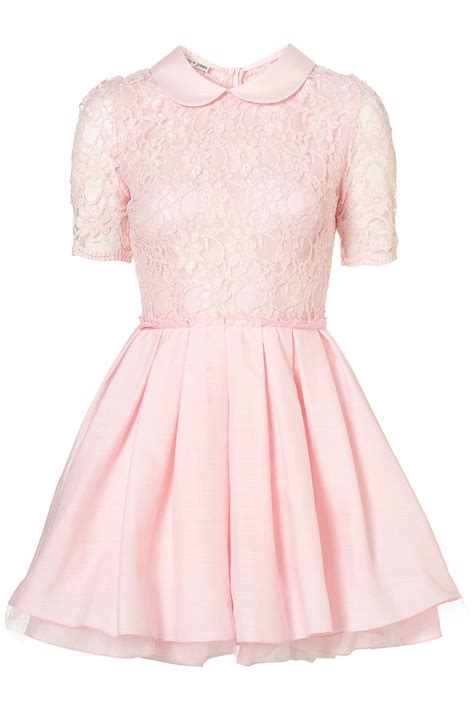 Dress Pink topshop poppy lace dress by jones and jones in pink lyst