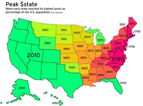 us map states size by population map monday peak population percentage of us states
