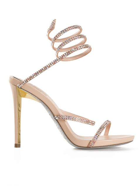 sandals with springs rene caovilla embellished coil sandals in pink