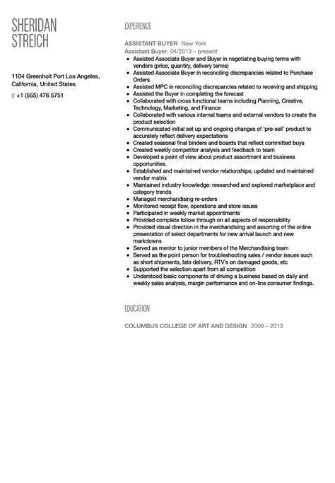 assistant buyer resume exles assistant buyer resume sle
