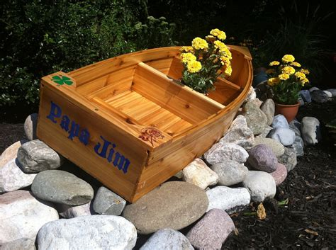wooden boat planter nautical wooden outdoor landscape all cedar boat garden