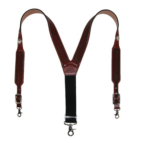 mens leather tooled suspenders by 3 d belt
