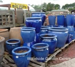 large blue glazed pot tree planter garden pots essex