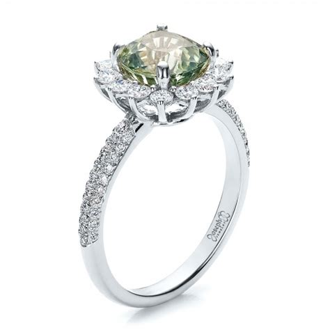 custom green sapphire and engagement ring 100111