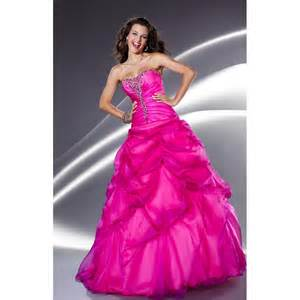 Strapless organza beading ruched pick ups hot pink long prom dress