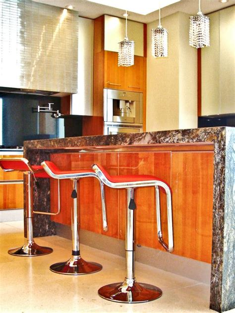 bar chairs for kitchen island modern kitchen with red bar stools hgtv