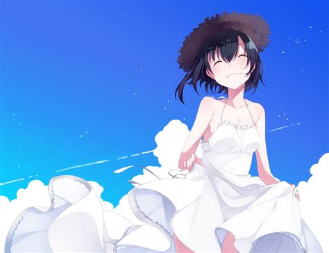 Dress Smile White happy anime anime smiling sky clouds