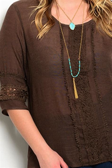 brown pattern tunic ire brown lace tunic from california by bus shoppe
