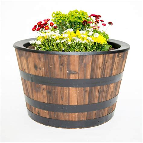 half whiskey barrel planter real wood 26 in dia cedar half whiskey barrel planter 29 88 the coupon challenge