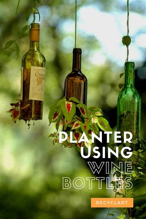 planter  upcycled wine bottles recyclart