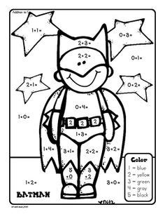 superhero math coloring page 1 0a 6 on pinterest addition and subtraction common
