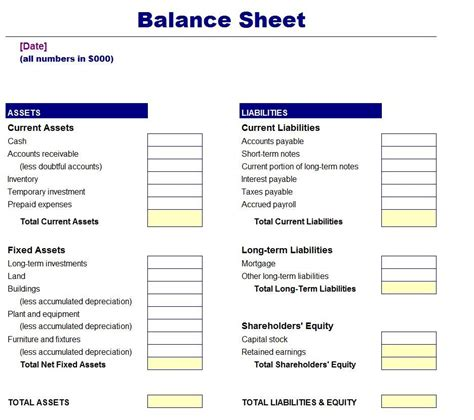 balance sheet account section 5 blank balance sheet templates free download