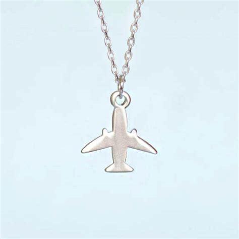 silver airplane necklace jet plane aeroplane charm
