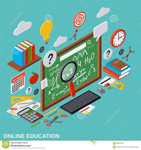 4 designer illustration style education online education learning teaching vector concept stock