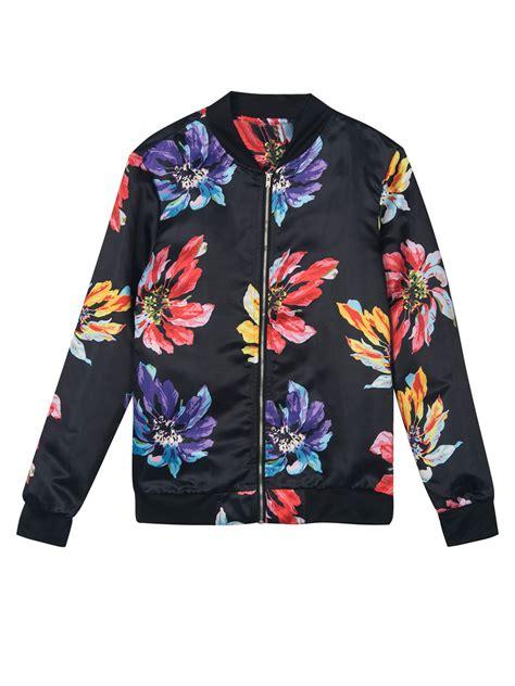 Flower Jaket P black floral rib detail bomber jacket choies