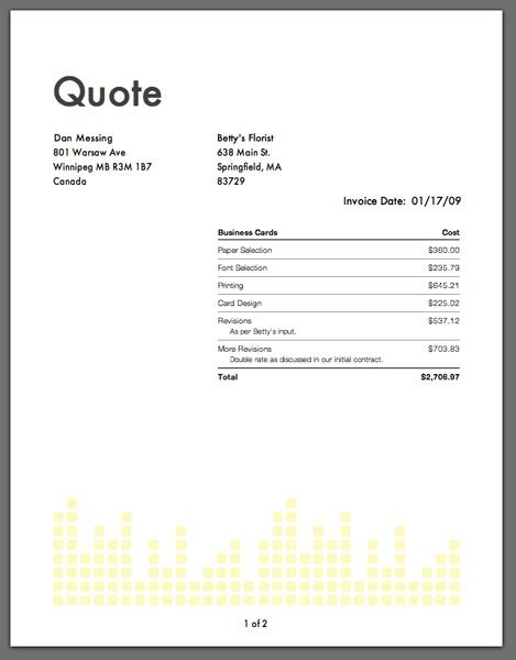 Resumes Template With Quotes Quotesgram Quote Invoice Template