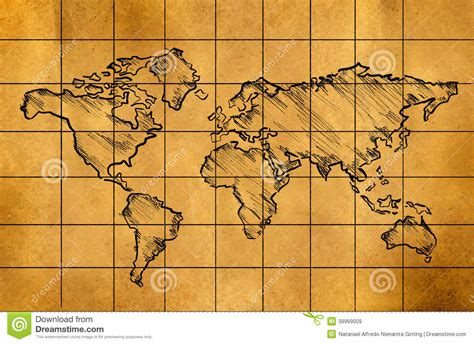 draw a map free world map sketch on paper stock illustration