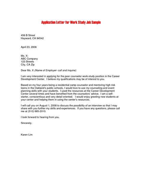 cover letter work study sle covering letter for application by email the
