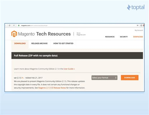 how to install bz2 magento 2 download page