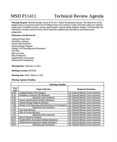 Review Agenda Templates 10 Free Word Pdf Doc Format Download Free Premium Templates Mechanical Design Review Checklist Template