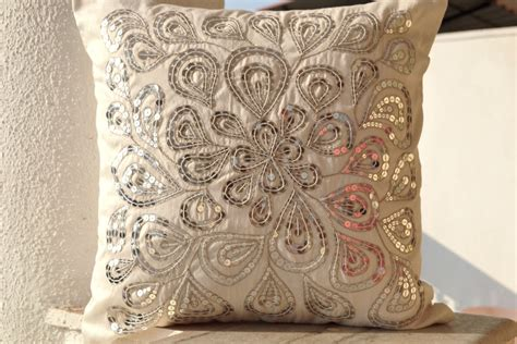 A Decorative Pillow by Ivory White Throw Pillows With Silver Sequins By Amorebeaute