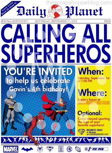 newspaper theme invitation superhero newspaper birthday invitation the scrap shoppe