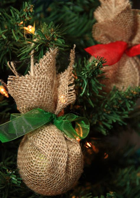 haul out the holly upcycled burlap christmas ornaments