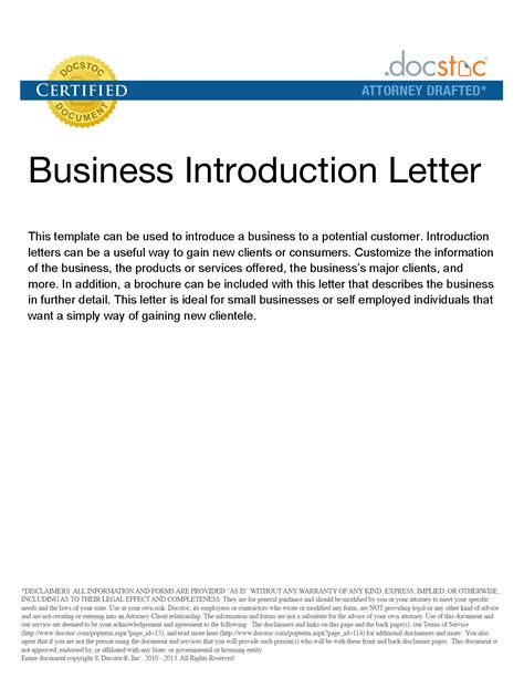 Small Business Introduction Letter Exles sle company introduction letter to customer cover