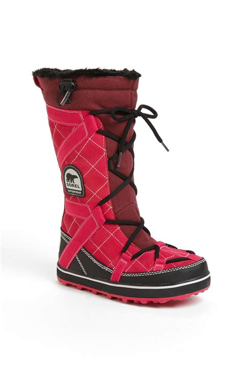 sorel glacy boot sorel glacy explorer winter boot in pink lyst