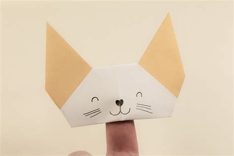 How To Make A Paper Puppet - origami finger puppet tutorial