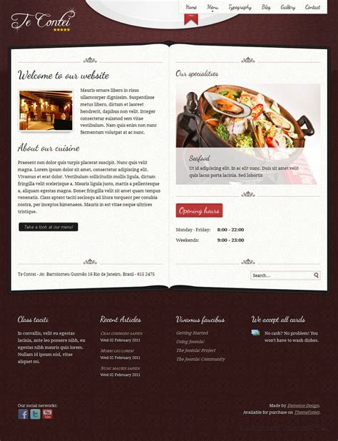 themeforest free html templates te contei review a html restaurant template by themeforest