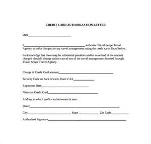 Sle Authorization Letter To Use Credit Card For Air Ticket Credit Card Authorization Letter 10 Documents