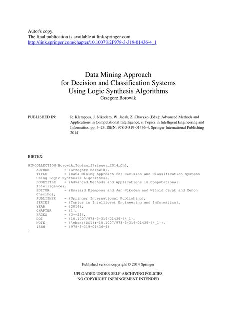 (PDF) Data Mining Approach for Decision and Classification