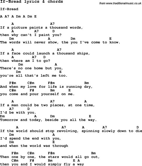 lyrics with chords song lyrics for if bread with chords