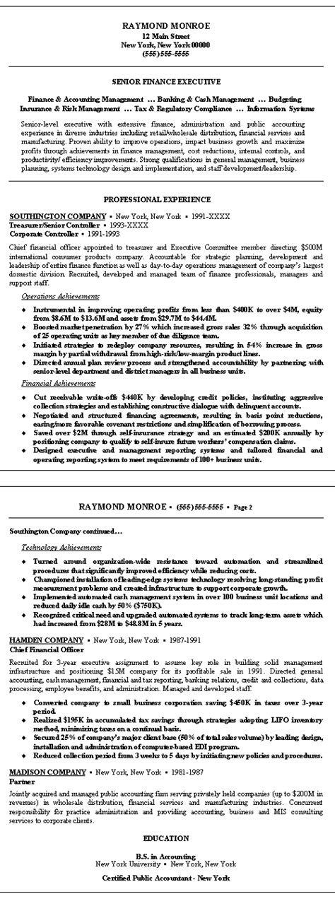 resume format for finance executive in india finance executive resume exle